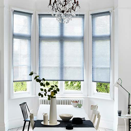 Bay Window Blinds Dining Room Monochrome Scandi
