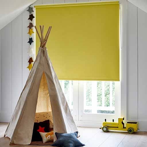 Child safe yellow roller blinds made to measure in UK. TeePee Tent, Child's Room, Train Set