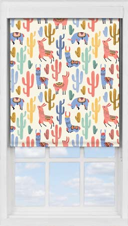 Premium Roller Blind in Happy Llamas Blackout