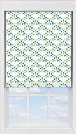 Premium Roller Blind in Triangles Teal Blackout