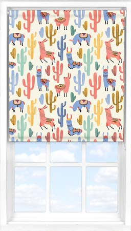 Roller Blind in Happy Llamas Blackout