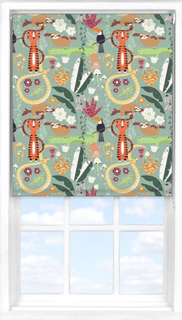 Motorised Roller Blind in Jungle Friends Blackout