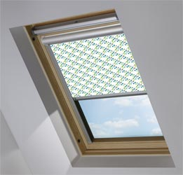 Solar Skylight in Triangles Teal Blackout